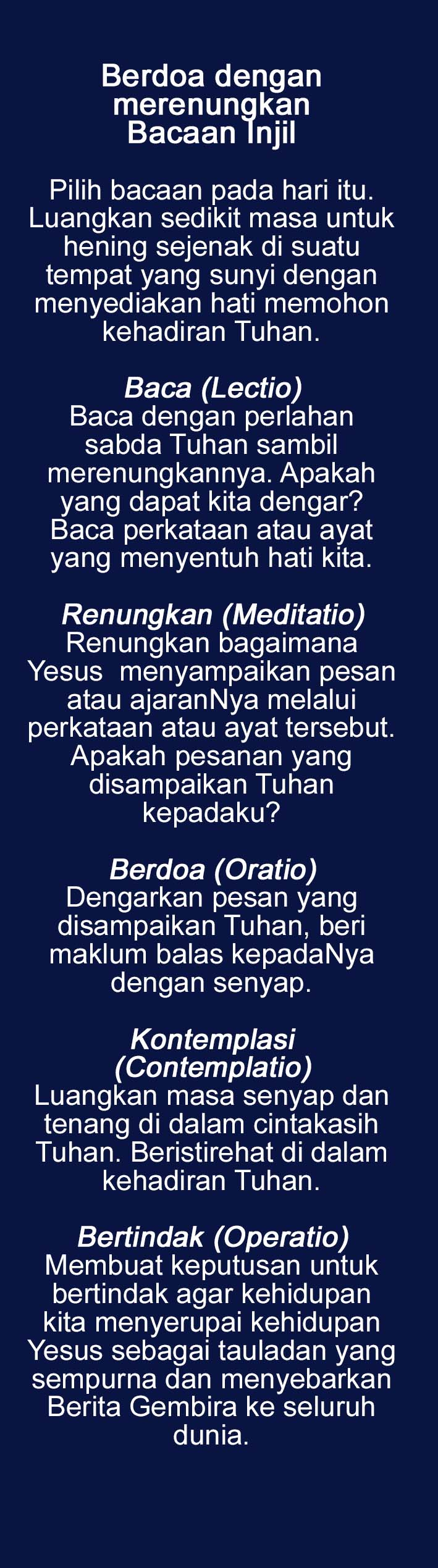 Lectio Divina bookmark back Bahasa