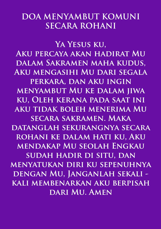 Spiritual Communion Bahasa