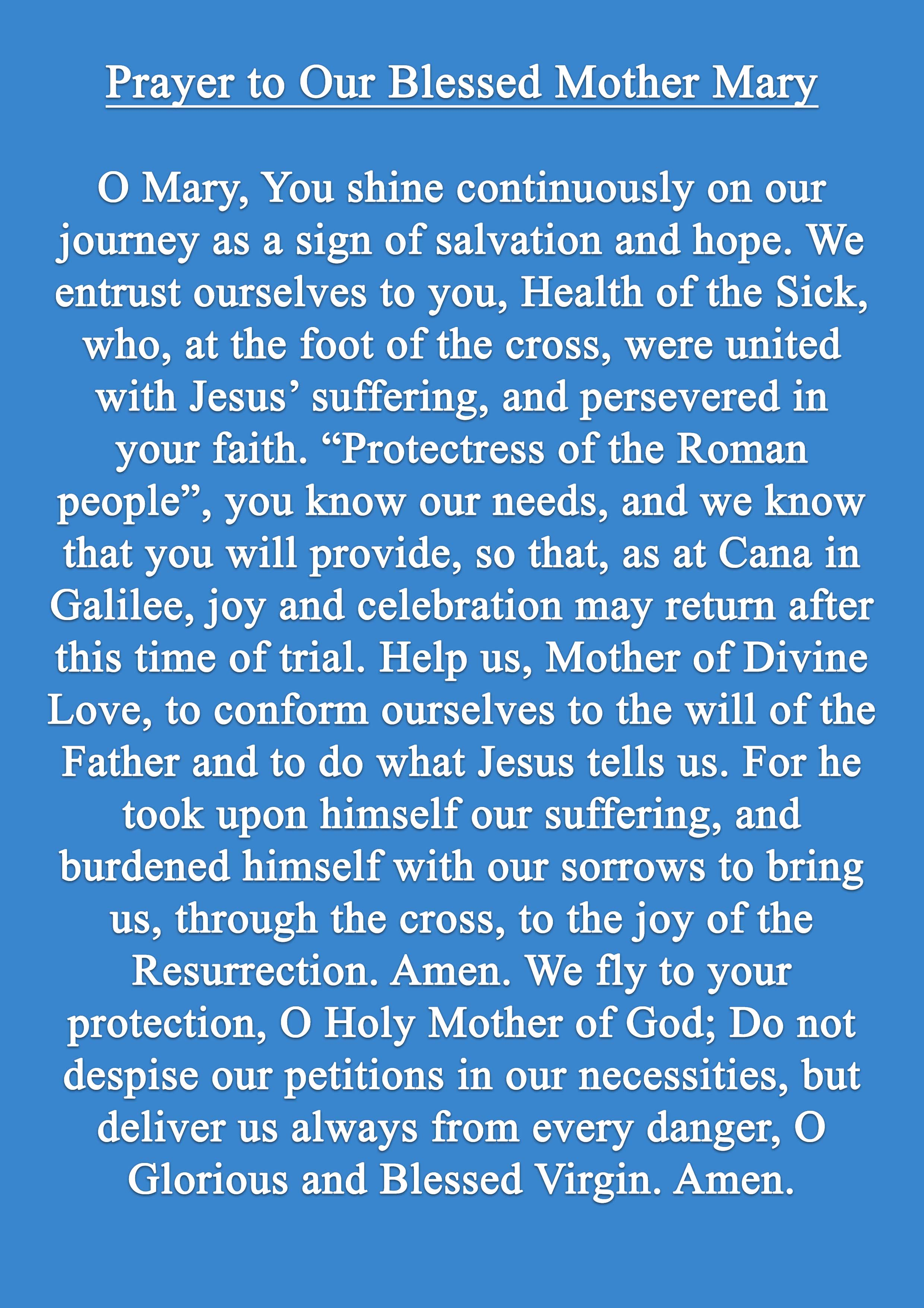 Pope Francis Prayer for May