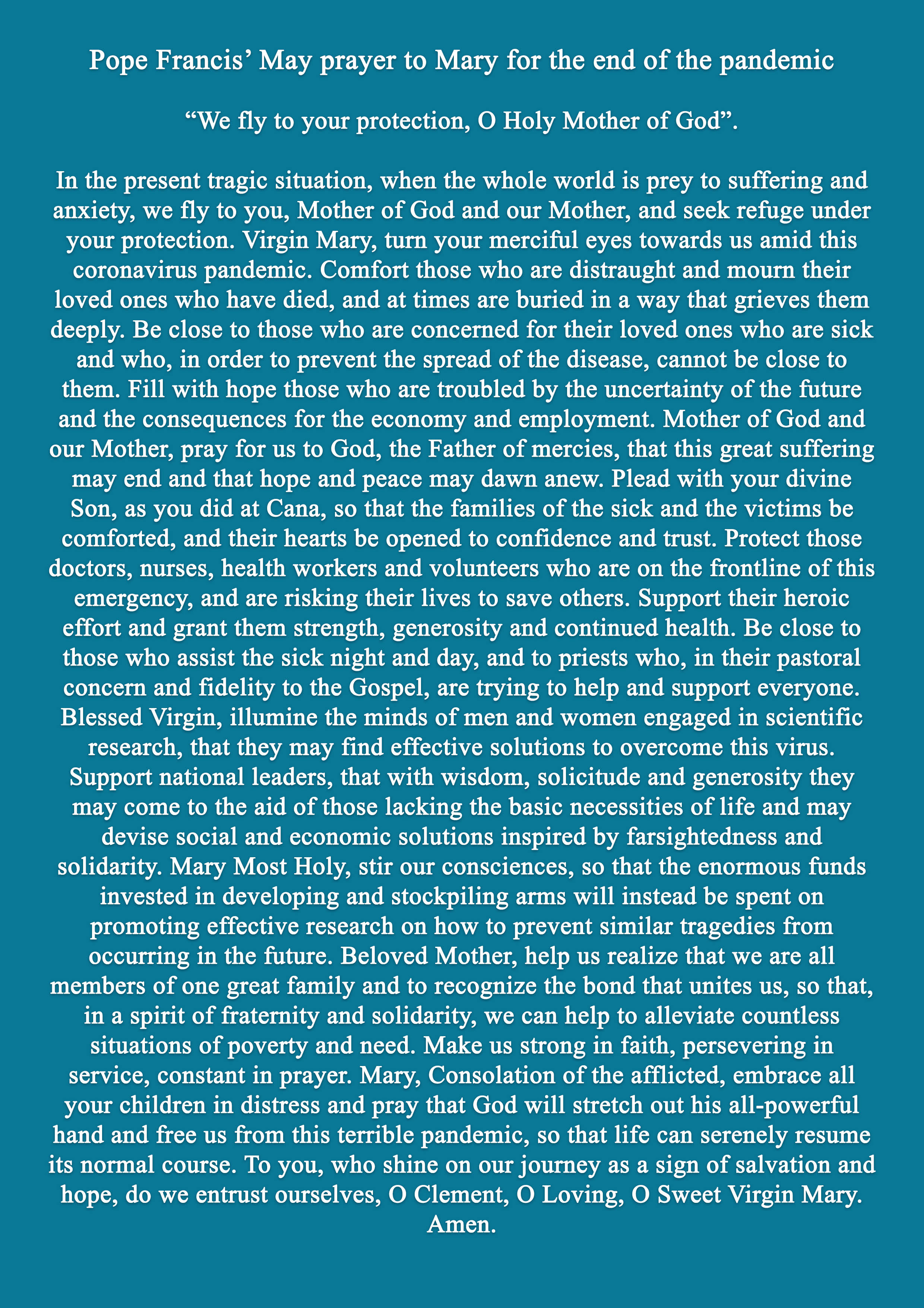 Pope prayer for the end of the Pandemic